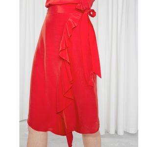 NEW Bright Red Designer Ruffle Wrap Bow Tie Skirt